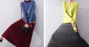 Вязаные плиссированные юбки