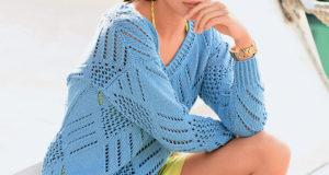 Лазурный пуловер в стиле яхтсменов