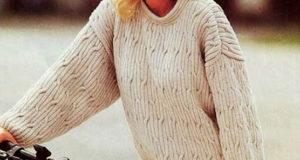 Пуловер оверсайз длинный бежевого цвета