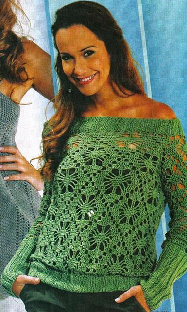 Зеленый ажурный пуловер с открытыми плечами узором Паучки