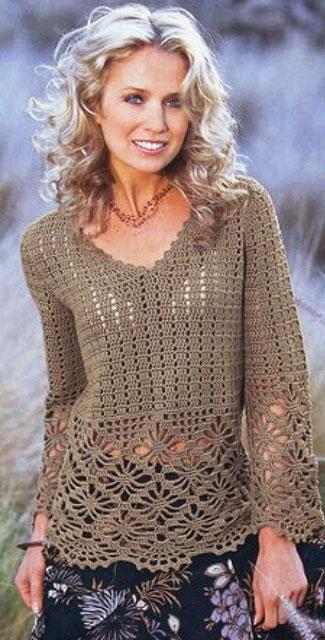 Ажурный пуловер с кружевными краями узором Паучки