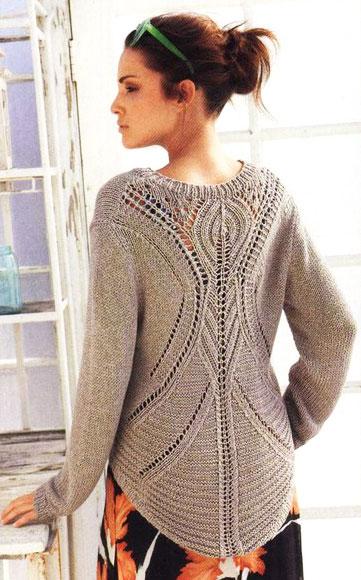 Пуловер с ажурным рисунком на спине