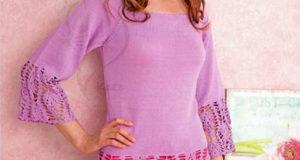 Пуловер реглан сиреневого цвета