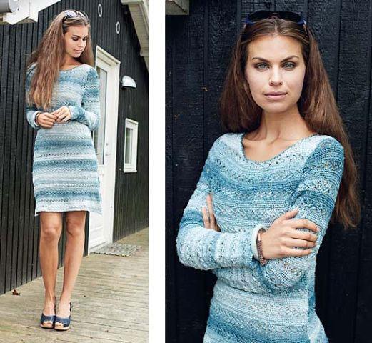 Платье с ажурным узором связанное крючком
