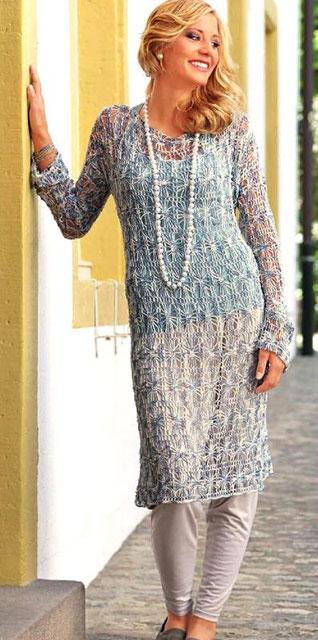 Пляжная туника или платье узором «паучки» с длинным рукавом