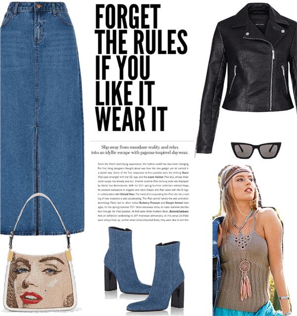 Сочетание топа с кожаной курткой и джинсовой юбкой