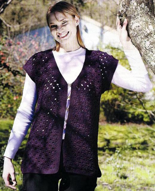 Фиолетовый жилет с декоративными застежками