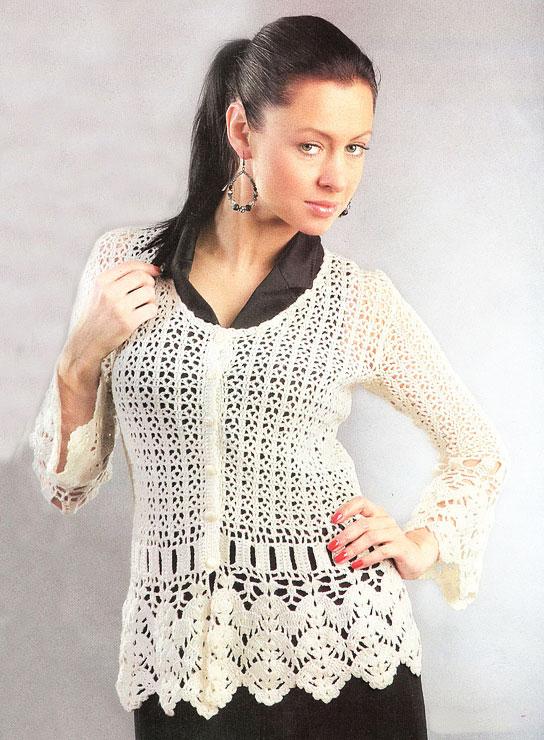 Жакет Чаровница с люрексом кремового цвета