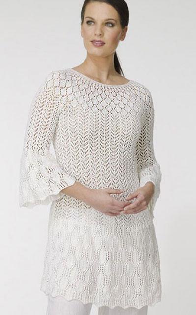 Туника-платье Ажурка с расклешенными рукавами