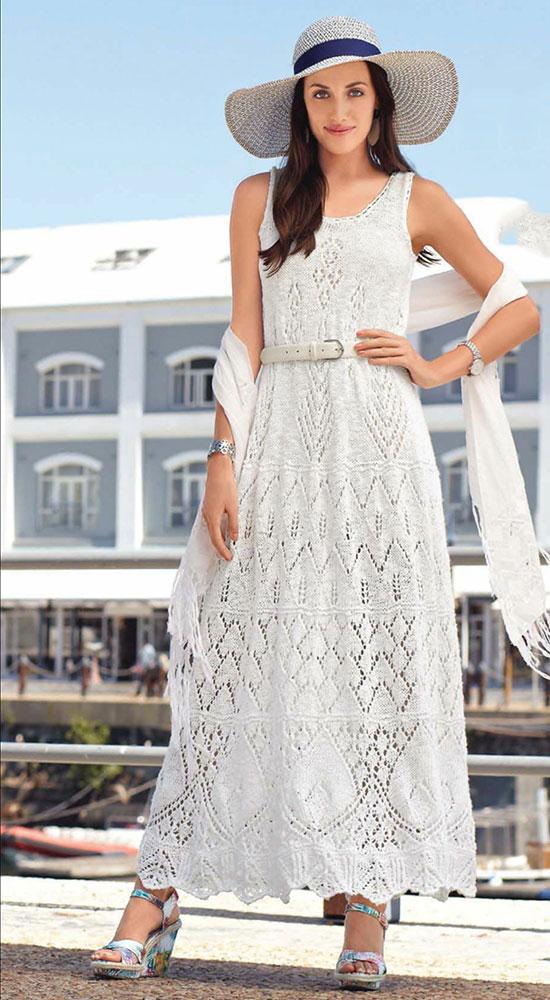 Белое платье в пол для лета