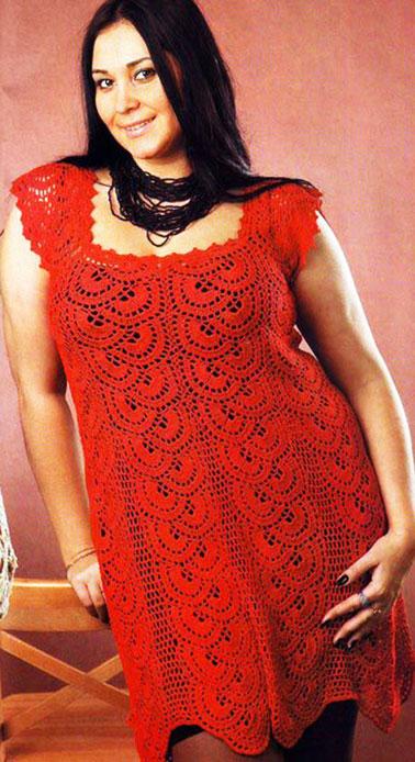 Красное платье с квадратным вырезом для полных
