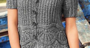 Жакет с коротким рукавом серого цвета