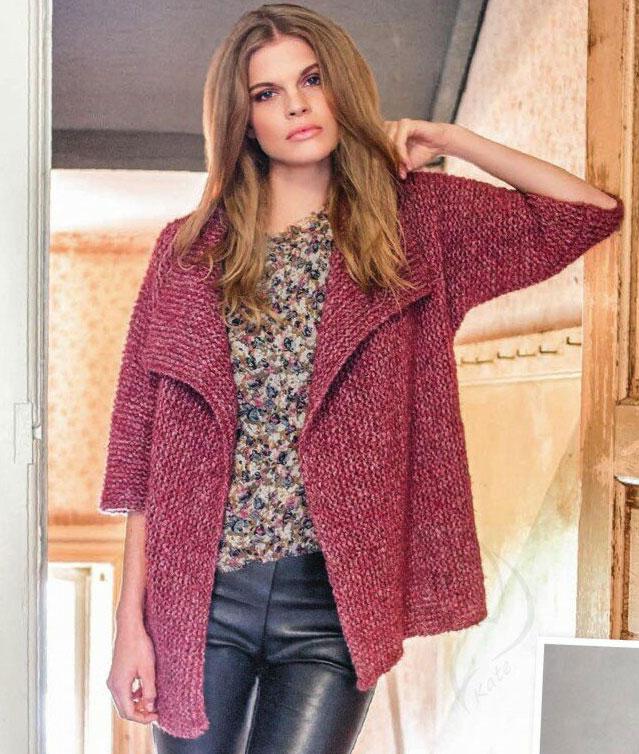 Жакет-кимоно платочной вязкой поперек