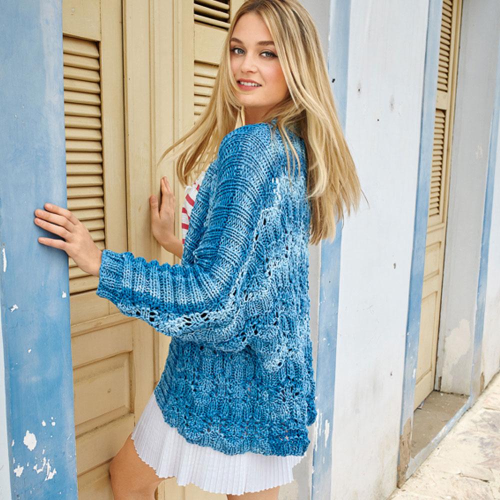 Жакет-кимоно в сине-голубых тонах