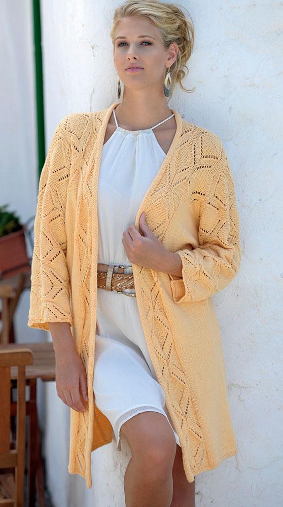 Длинный жакет-кимоно с ажурным узором схема вязания