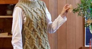 Безрукавка из толстой пряжи с крупными косами