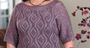 Короткий пуловер для полных женщин фиолетового цвета