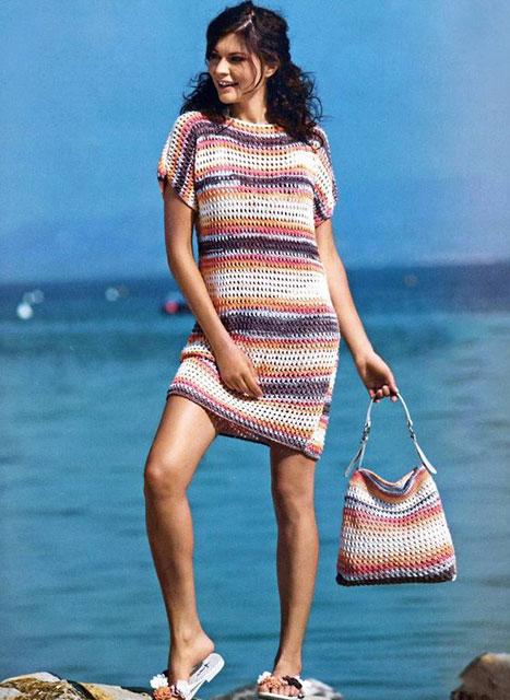 Пляжный комплект сумочка и платье в полоску