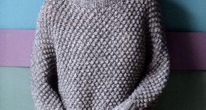Длинный свободный свитер узором «шиповник»