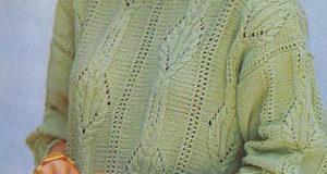 Оливковый узорчатый пуловер для женщин