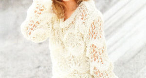Пуловер на толстых спицах с волнистым узором