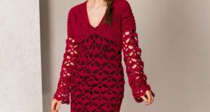 Бордовое платье крючком и спицами для всех мастериц