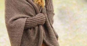 Коричневый жакет-кокон с рукавами