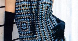 Эклектичное платье квадратным мотивом из остатков пряжи