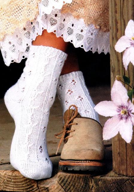 Вяжем носки ажурным узором с тюльпанами