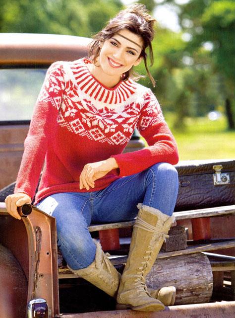 Красно-белый свитер в жаккардовой технике норвежским узором Роза Сельбу