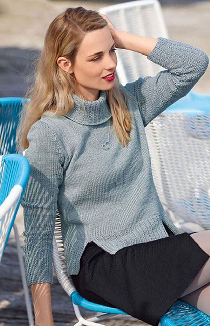 Как связать классический женский свитер с высоким воротом из овечьей шерсти с шелком