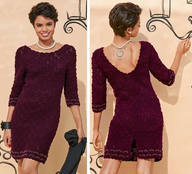Элегантное ажурное платье бордового цвета