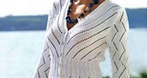 Жакет зигзагообразным узором белого цвета