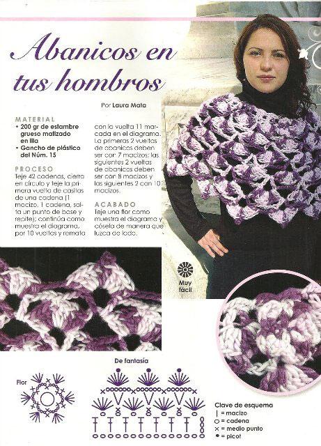 Фиолетовый и сиреневый в двухцветном ажурном пончо