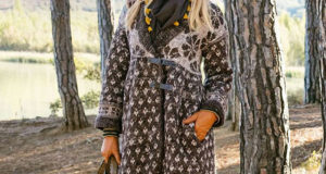 Пальто с шалевым воротником связанное жаккардовым узором