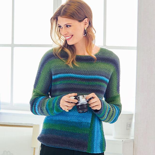 Пуловер-джемпер с боковой вставкой мелким жемчужным узором