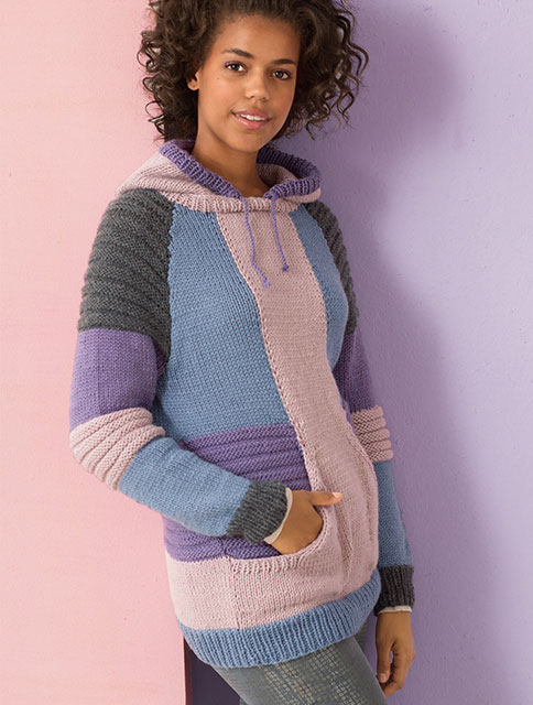 Разноцветный пуловер с капюшоном