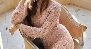 Красивое платье в коралловом цвете