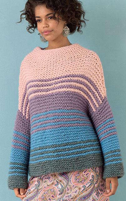 Разноцветный джемпер прямоугольного покроя крупной платочной вязкой