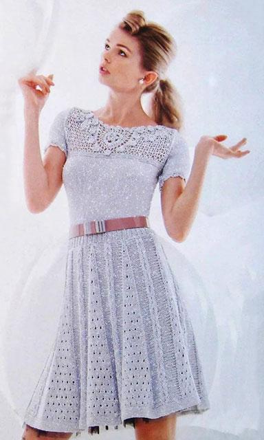 Серебряное платье крючком и спицами