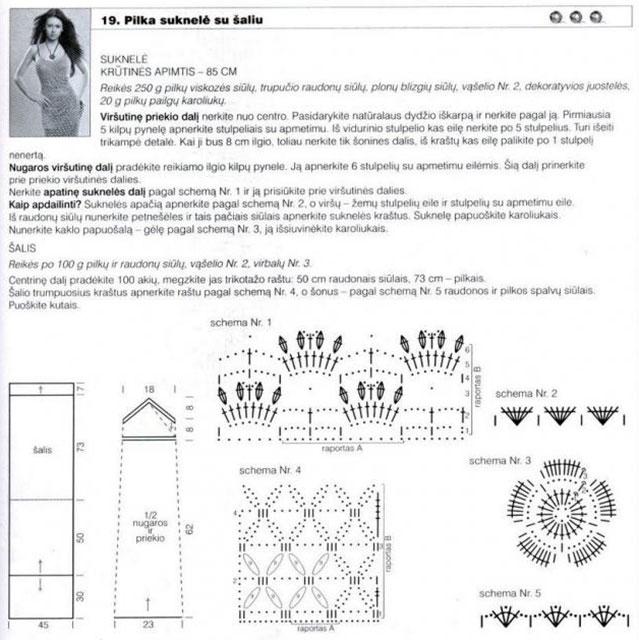 Выкройка, схемы и описание вязания