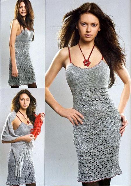 Облегающее серебристое платье-сарафан