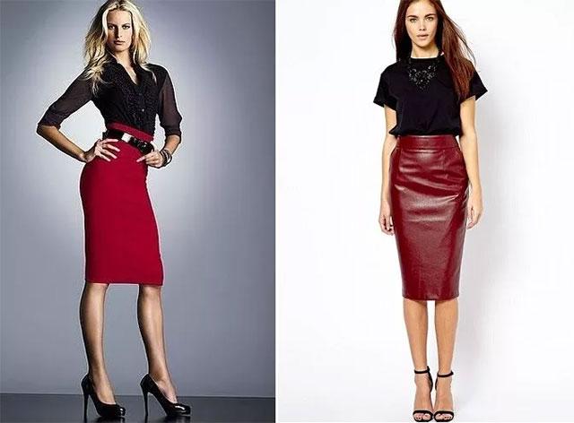 На фото варианты с чем носить бордовую юбку-карандаш