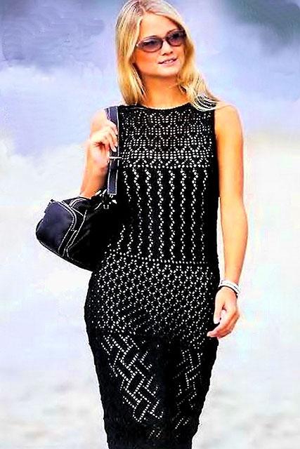 Черное платье из сочетания ажурных узоров