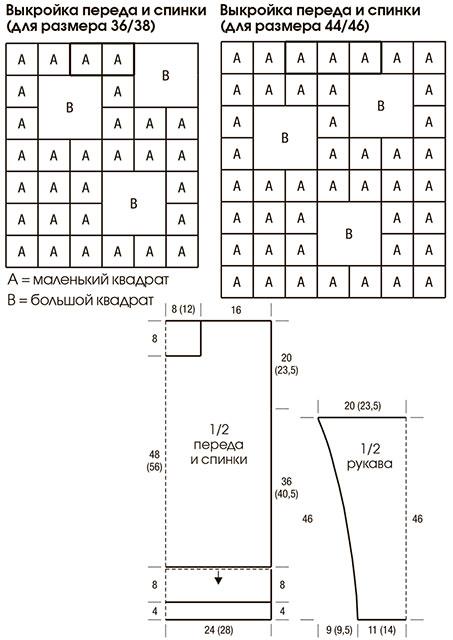 Выкройка со схемой расположения квадратов