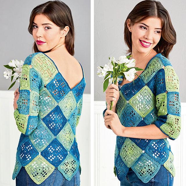 Пуловер из 58 бабушкиных квадратов в стиле 70-х с V-образными вырезами на груди и на спине