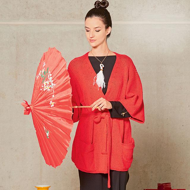 Свободный кардиган-кимоно с карманами в японском стиле