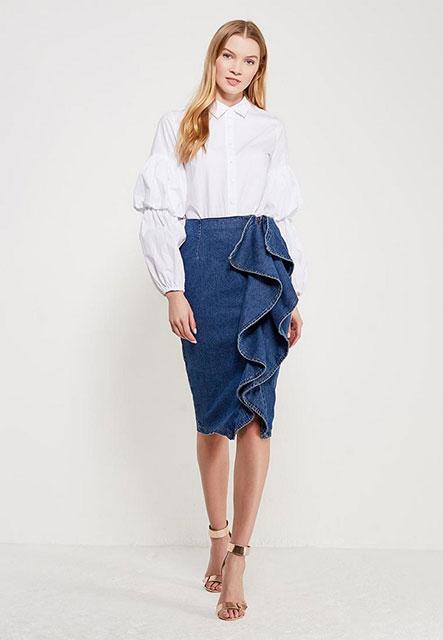 Стильная джинсовая юбка-карандаш
