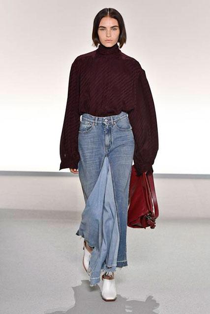 Джинсовая макси-юбка с отложным рисунком