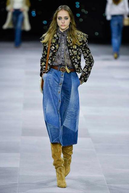 У Celine юбка из лоскутной джинсовой ткани миди-длины